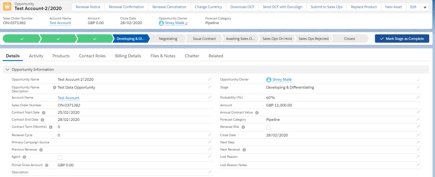 Salesforce Lightning Screen